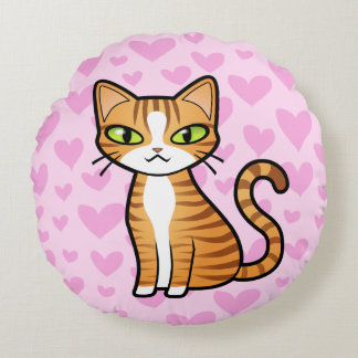 Design Your Own Cartoon Cat (love hearts) Round Pillow
