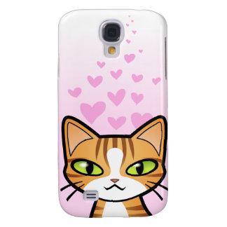 Design Your Own Cartoon Cat (love hearts) Samsung Galaxy S4 Case