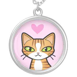 Design Your Own Cartoon Cat (love hearts) Silver Plated Necklace