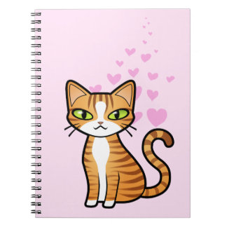 Design Your Own Cartoon Cat (love hearts) Spiral Notebook