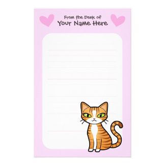 Design Your Own Cartoon Cat (love hearts) Stationery