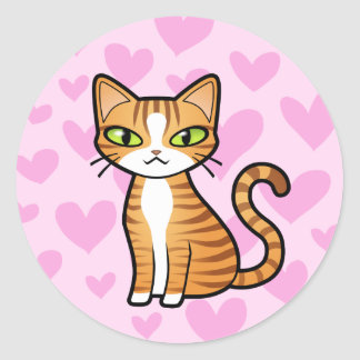 Design Your Own Cartoon Cat (love hearts) Round Stickers