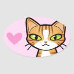 Design Your Own Cartoon Cat (love hearts) Sticker