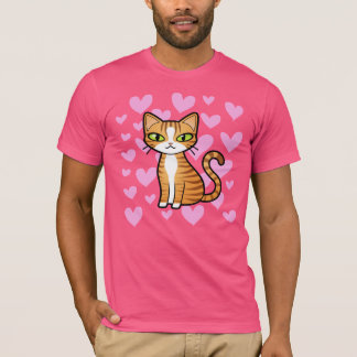 Design Your Own Cartoon Cat (love hearts) T-Shirt