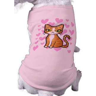 Design Your Own Cartoon Cat (love hearts) Tee
