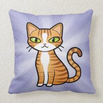 Design Your Own Cartoon Cat (love hearts) Throw Pillow