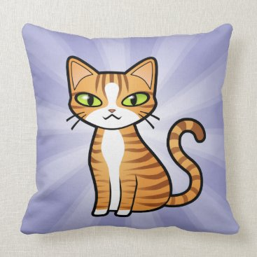 Valentines Themed Design Your Own Cartoon Cat (love hearts) Throw Pillow