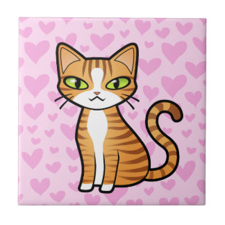 Design Your Own Cartoon Cat (love hearts) Tile