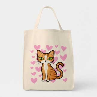 Design Your Own Cartoon Cat (love hearts) Tote Bag