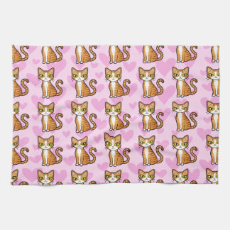 Design Your Own Cartoon Cat (love hearts) Towels