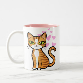 Design Your Own Cartoon Cat (love hearts) Two-Tone Coffee Mug