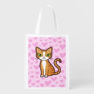 Design Your Own Cartoon Cat (love hearts) Reusable Grocery Bag