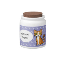 Design Your Own Cartoon Cat (personalize name) Candy Jar