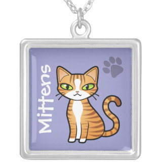 Design Your Own Cartoon Cat Silver Plated Necklace