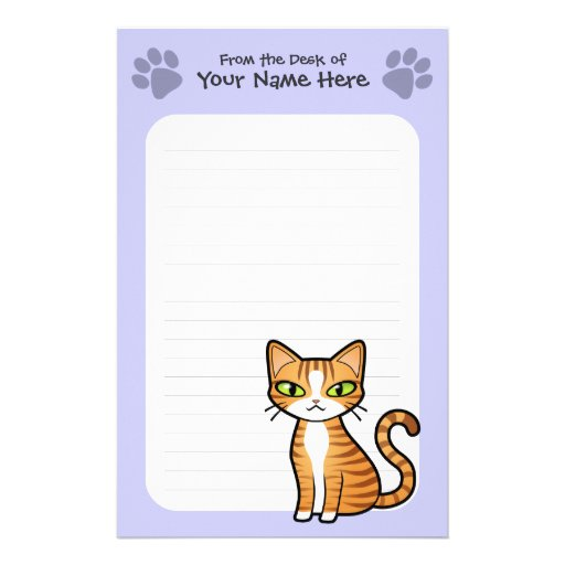 Design Your Own Cartoon Cat Personalized Stationery