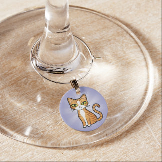 Design Your Own Cartoon Cat Wine Glass Charm