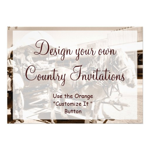 "Design Your Own Country Invitations Cowboy Horses 5"" X 7"