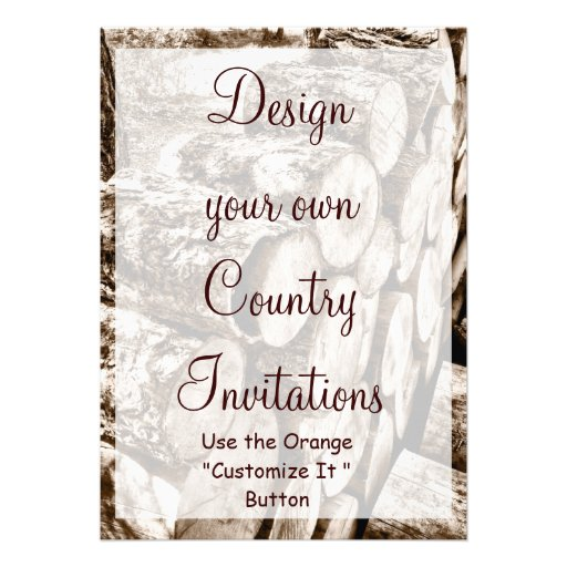 "Design Your Own Country Invitations Template Wood 5"" X 7"