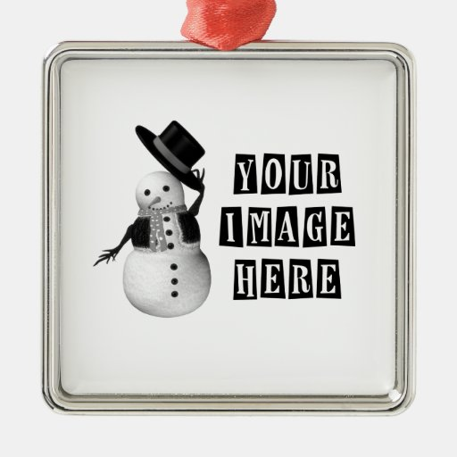 DESIGN YOUR OWN CUSTOM HOLIDAY GIFT SQUARE METAL CHRISTMAS ORNAMENT