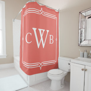 Design Your Own Monogram Customizable Color Hue Shower Curtain