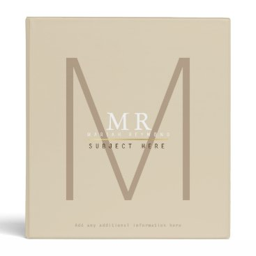Professional Business design your own monogram on beige pro or for study 3 ring binder