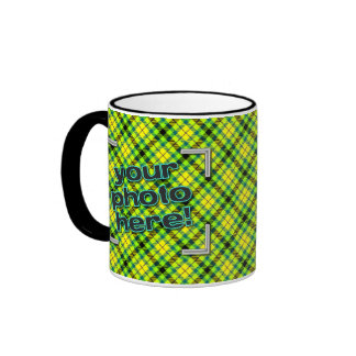 DESIGN YOUR OWN! Neon Green Yellow Plaid Photo Mug