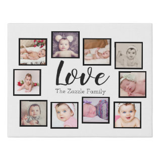 Design Your Own One Of A Kind 10 Photo Family Faux Canvas Print at Zazzle