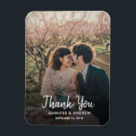 "Design your own photo Thank you Wedding Magnet<br><div class=""desc"">Design your own photo Thank you Wedding card. Elegant photo magnet to say Thank you to your wedding guests. You can add your own photo,  add your own text and names.</div>"