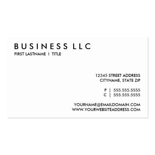 design your own : plain black and white. business card templates (front side)