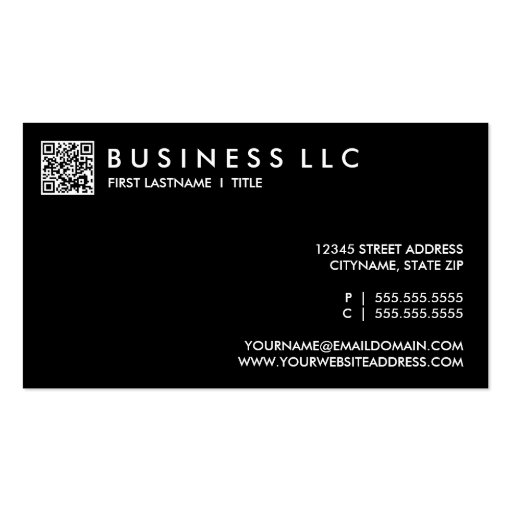 design your own QR code: plain black and white. Business Card Templates