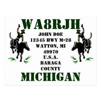Design Your Own QSL HAM Radio Ops Card Bronc Rider
