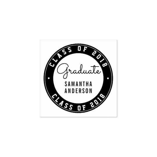 Design Your Own Rubber Stamp: Design Your Own Round Graduation Typography Rubber Stamp