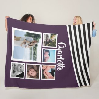 Design Your Own Unique Personalized Purple Striped Fleece Blanket