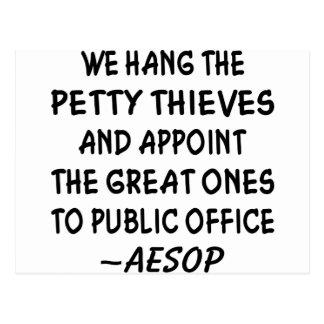 Designamos a los grandes ladrones al cargo público tarjetas postales