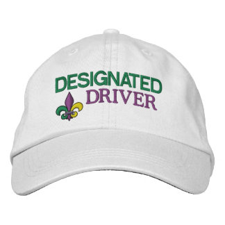 Designated Driver - Mardi Gras Embroidered Baseball Hat