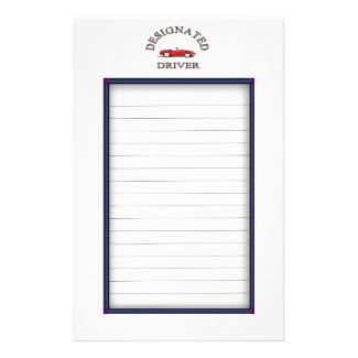 Designated Driver Sign Up Sheets Custom Stationery