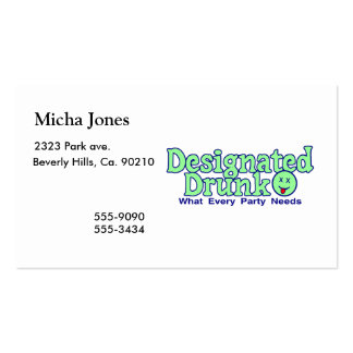 Designated Drunk Double-Sided Standard Business Cards (Pack Of 100)