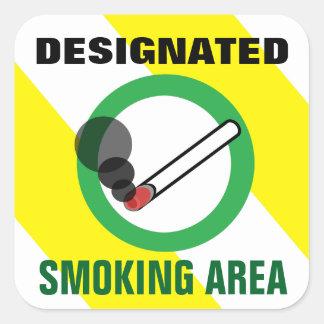 Designated Smoking Area Sign Square Sticker