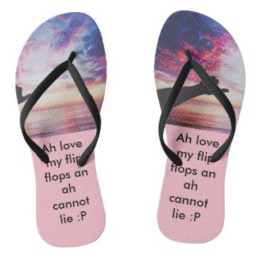 Beach Themed designed flip flop, pink with black straps flip flops