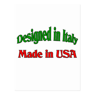 Designed In Italy. Made In USA. Postcard