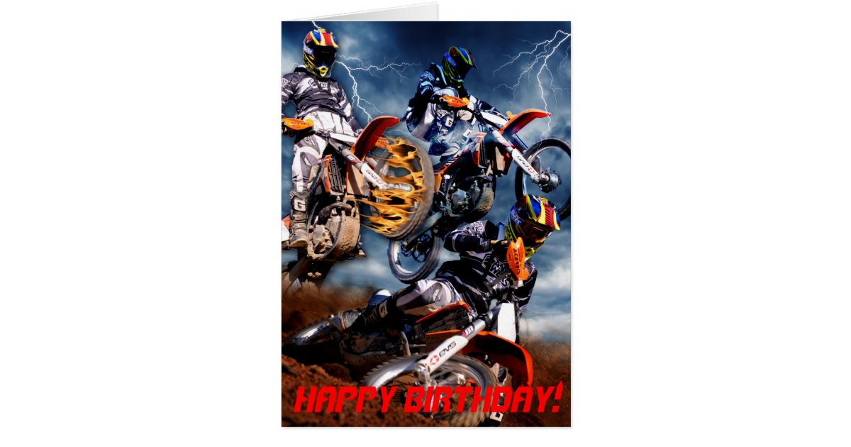 Designed Motocross birthday card – Motocross Birthday Cards