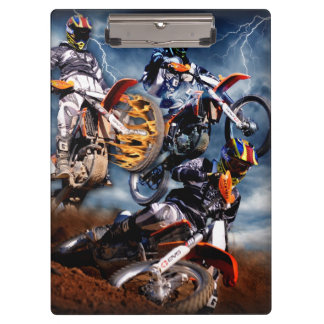 Designed motocross racing collage. clipboard