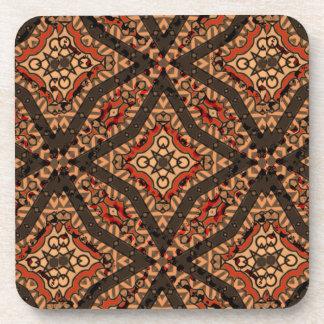 Designer abstract geometric tribal coaster set