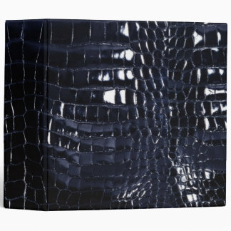 Designer Alligator Crocodile Skin Shiny Navy Blue 3 Ring Binder