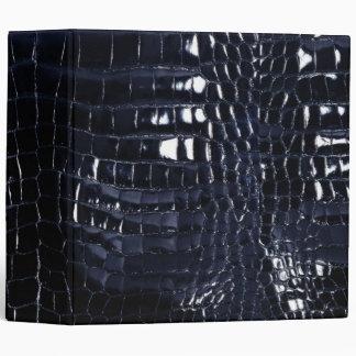 Designer Alligator Crocodile Skin Shiny Navy Blue Binders