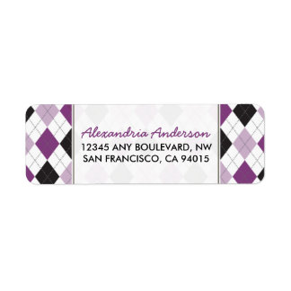 Designer Argyle Return Address Label (lilac/black)