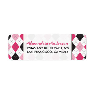 Designer Argyle Return Address Label (pink/black)