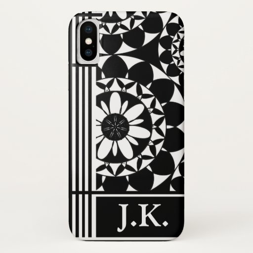 Designer Black and White Ornate Personalised iPhone X Case