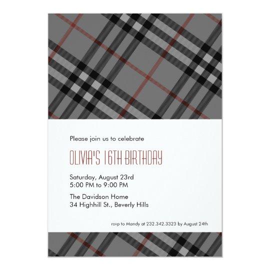 designer black plaid invitations zazzle com