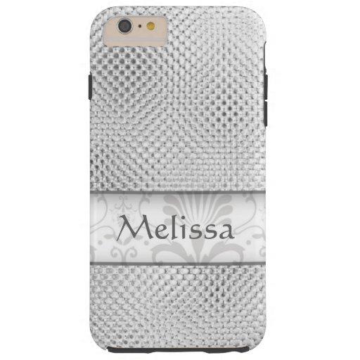 Designer Bling Damask Pattern Personalized -Silver Tough iPhone 6 Plus Case